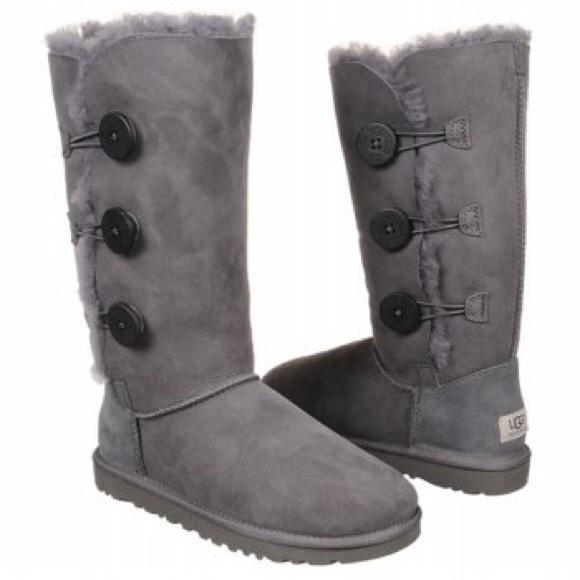 95550395266 UGG Bailey Triplet Gray Suede Kids Boots 1962 sz 3